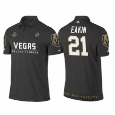 Vegas Golden Knights #21 Cody Eakin Heather Gray 2018 Stanley Cup Final Name and Number Polo Shirt