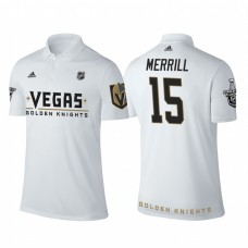 Vegas Golden Knights #15 Jon Merrill white 2018 Stanley Cup Polo Shirt
