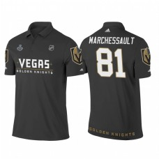 Vegas Golden Knights #81 Jonathan Marchessault Heather Gray 2018 Stanley Cup Final Name and Number Polo Shirt