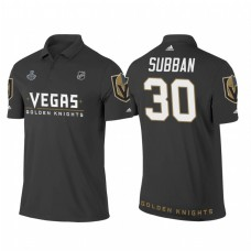 Vegas Golden Knights #30 Malcolm Subban Heather Gray 2018 Stanley Cup Final Name and Number Polo Shirt