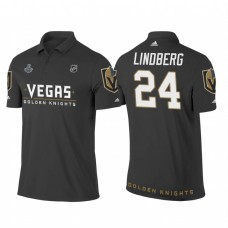 Vegas Golden Knights #24 Oscar Lindberg Heather Gray 2018 Stanley Cup Final Name and Number Polo Shirt