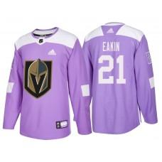 Vegas Golden Knights #21 Purple Hockey Fights Cancer Cody Eakin Jersey