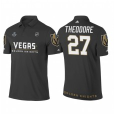 Vegas Golden Knights #27 Shea Theodore Heather Gray 2018 Stanley Cup Final Name and Number Polo Shirt