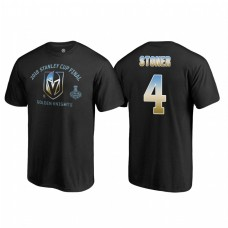 Vegas Golden Knights #4 Clayton Stoner 2018 Western Conference Champion Match Penalty Name and Number T-shirt Black