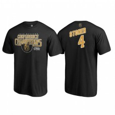Vegas Golden Knights #4 Clayton Stoner Western Conference Champions 2018 Interference Black T-Shirt