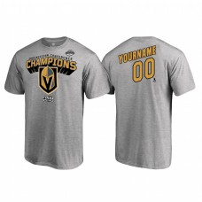 Custom Vegas Golden Knights Western Conference Champions 2018 Name and Number Heather Gray T-Shirt