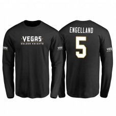 Vegas Golden Knights #5 Deryk Engelland #5 Black Name And Number Long Sleeve T-Shirt
