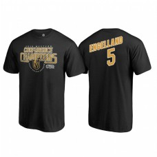 Vegas Golden Knights #5 Deryk Engelland Western Conference Champions 2018 Interference Name and Number Black T-shirt
