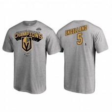 Vegas Golden Knights #5 Deryk Engelland Western Conference Champions 2018 Name and Number Heather Gray T-Shirt