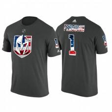 Vegas Golden Knights #1 Dylan Ferguson #1 Black Banner Wave USA Flag patriotism T-Shirt