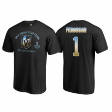 Vegas Golden Knights #1 Dylan Ferguson 2018 Western Conference Champion Match Penalty Name and Number T-shirt Black