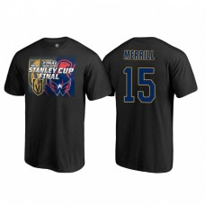 Vegas Golden Knights #15 Jon Merrill Stanley Cup Final 2018 Dueling Odd Man Rush Name and Number Black T-shirt