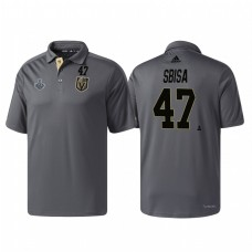 Vegas Golden Knights #47 Luca Sbisa Heather Gray 2018 Stanley Cup Final Pro Locker Room Polo Shirt