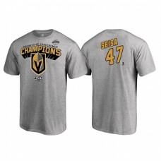 Vegas Golden Knights #47 Luca Sbisa Western Conference Champions 2018 Name and Number Heather Gray T-Shirt