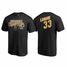 Vegas Golden Knights #33 Maxime Lagace Western Conference Champions 2018 Interference Name and Number Black T-shirt