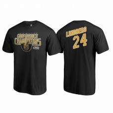 Vegas Golden Knights #24 Oscar Lindberg Western Conference Champions 2018 Interference Name and Number Black T-shirt