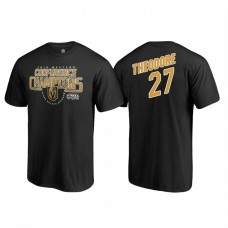 Vegas Golden Knights #27 Shea Theodore Western Conference Champions 2018 Interference Name and Number Black T-shirt