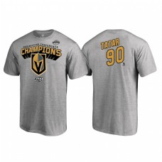 Vegas Golden Knights #90 Tomas Tatar Western Conference Champions 2018 Name and Number Heather Gray T-Shirt
