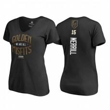 Women's Vegas Golden Knights #15 Jon Merrill 2018 Stanley Cup Final Golden Misfits Name and Number Black T-shirt