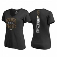 Women's Vegas Golden Knights #81 Jonathan Marchessault 2018 Stanley Cup Final Golden Misfits V-Neck Black T-shirt