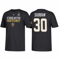 Vegas Golden Knights #30 Malcolm Subban 2018 Stanley Cup Final Create History Name and Number Black T-Shirt