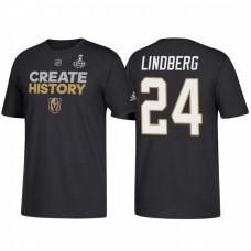 Vegas Golden Knights #24 Oscar Lindberg 2018 Stanley Cup Final Create History Black T-Shirt