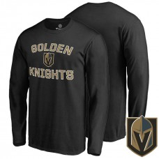 Vegas Golden Knights Black Team Name And Logo T-shirt