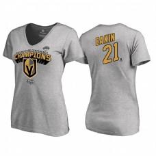Women's Vegas Golden Knights #21 Cody Eakin Western Conference Champions 2018 Long Change V-Neck Heather Gray T-Shirt