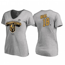 Women's Vegas Golden Knights #18 James Neal Western Conference Champions 2018 Long Change V-Neck Heather Gray T-Shirt