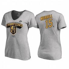 Women's Vegas Golden Knights #15 Jon Merrill Western Conference Champions 2018 Long Change V-Neck Heather Gray T-Shirt