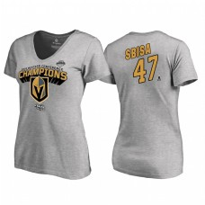 Women's Vegas Golden Knights #47 Luca Sbisa Western Conference Champions 2018 Long Change V-Neck Heather Gray T-Shirt