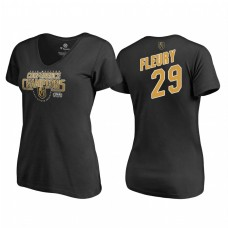 Women's Vegas Golden Knights #29 Marc-Andre Fleury Western Conference Champions 2018 Interference V-Neck Black T-Shirt
