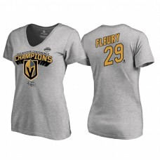 Women's Vegas Golden Knights #29 Marc-Andre Fleury Western Conference Champions 2018 Long Change V-Neck Heather Gray T-Shirt