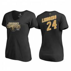 Women's Vegas Golden Knights #24 Oscar Lindberg Western Conference Champions 2018 Interference V-Neck Black T-Shirt