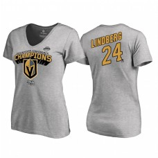 Women's Vegas Golden Knights #24 Oscar Lindberg Western Conference Champions 2018 Long Change V-Neck Heather Gray T-Shirt