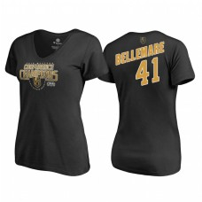 Women's Vegas Golden Knights #41 Pierre-Edouard Bellemare Western Conference Champions 2018 Interference V-Neck Black T-Shirt