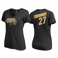 Women's Vegas Golden Knights #27 Shea Theodore Western Conference Champions 2018 Interference V-Neck Black T-Shirt