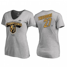 Women's Vegas Golden Knights #27 Shea Theodore Western Conference Champions 2018 Long Change V-Neck Heather Gray T-Shirt