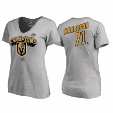 Women's Vegas Golden Knights #71 William Karlsson Western Conference Champions 2018 Long Change V-Neck Heather Gray T-Shirt
