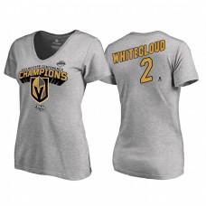 Women's Vegas Golden Knights #2 Zach Whitecloud Western Conference Champions 2018 Long Change V-Neck Heather Gray T-Shirt