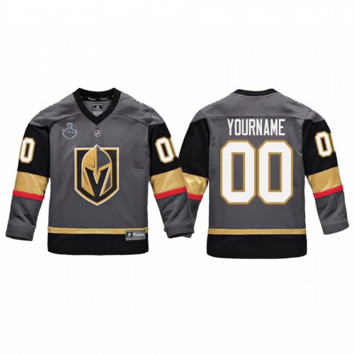 Youth Vegas Golden Knights #00 Custom Replica Player 2018 Stanley Cup Final Jersey Gray