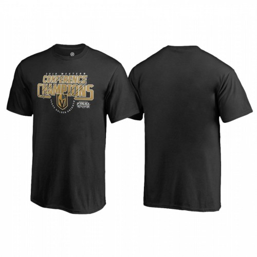 Youth Vegas Golden Knights Western Conference Champions 2018 Interference Black T-Shirt