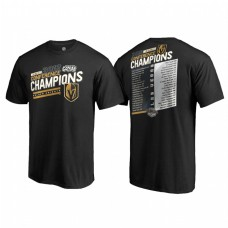 Youth Vegas Golden Knights Western Conference Champions 2018 Shorthanded Roster Black T-Shirt